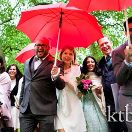 wedding photo in rain